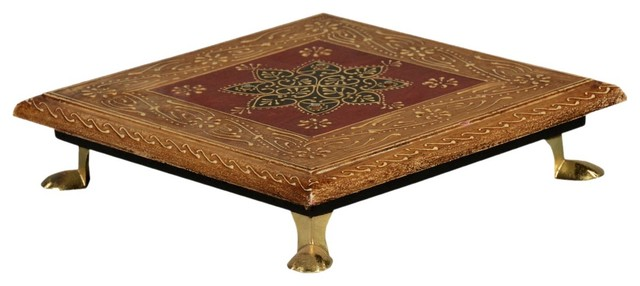 8 petal flower hand carved solid mango wood 8 square bajot table traditional plant carved solid mango wood