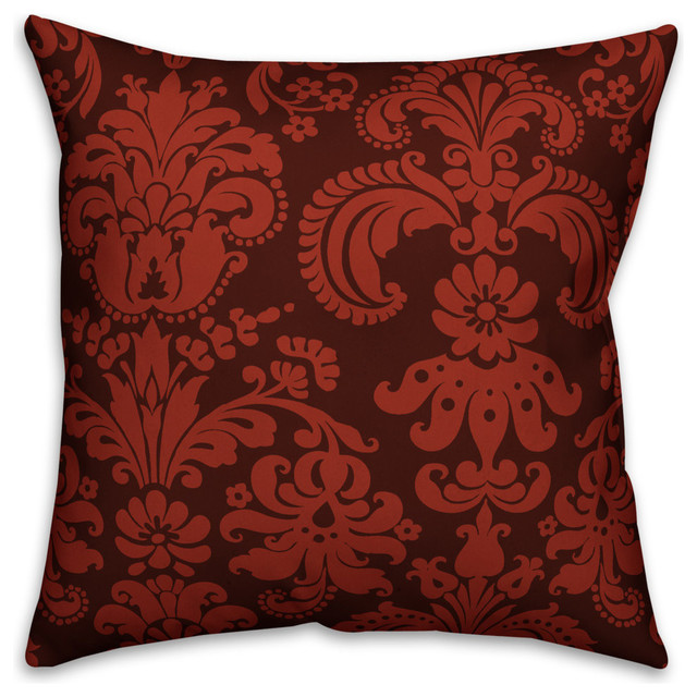 Red Damask 16 X16 Outdoor Throw Pillow