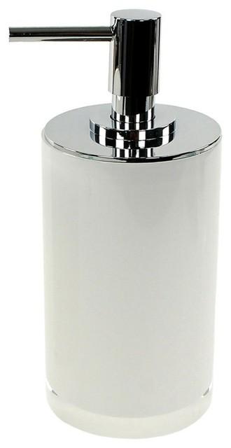 Round Free Standing Soap Dispenser, Resin, White