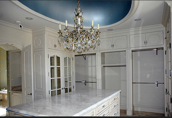 Large arts and crafts closet photo in Dallas with beaded inset cabinets and white cabinets