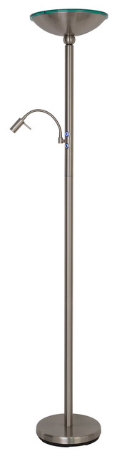 "Saturn II 71"" Torchiere Lamp w/ Reading Light, Touch Dimmer, Brushed Steel"