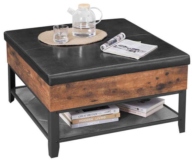 VASAGLE COPADION Ottoman Coffee Table, Square Cocktail Table With Storage