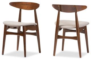Baxton Studio Flora Dining Chairs, Light Gray, Set of 2