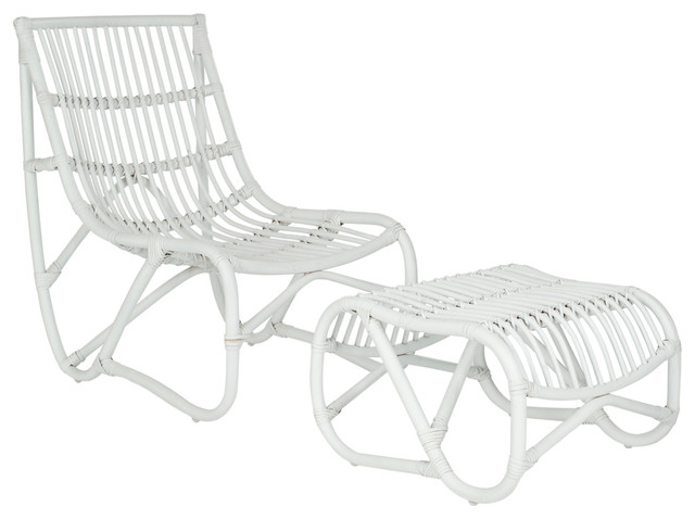 Shenandoah Chair With Ottoman White Tropical Outdoor Lounge Chairs