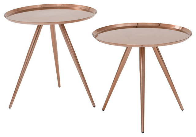 Tiffany Side Tables, Set Of 2, Brushed Copper Modern Side Tables