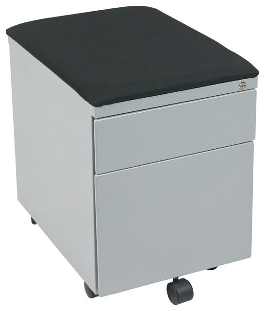 ... Metal File Cabinet With Padded Seat, Black and Gray - Filing Cabinets