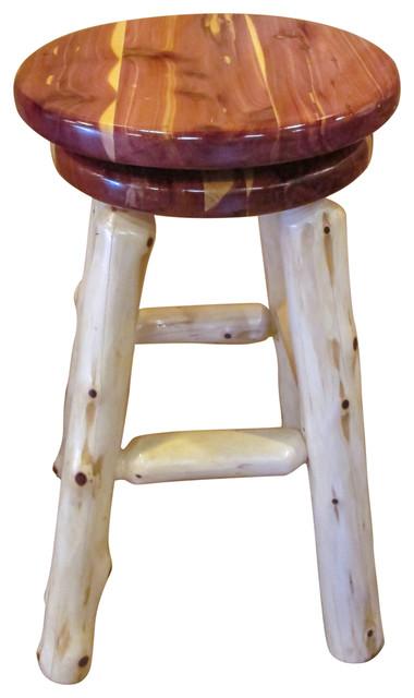 Rustic Red Cedar Log Swivel Top Stool Rustic Bar