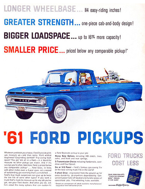 1961 Ford Pickups Promotional Advertising Poster Midcentury