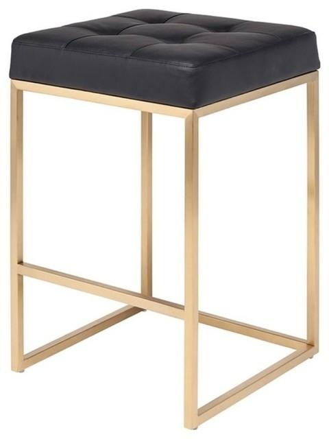 Chi Counter Stool, Brushed Gold Base, Black Seat.