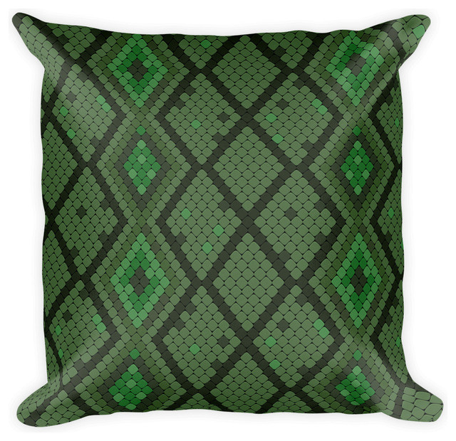 Southwestern Print Throw Pillows : Green Snakeskin Print Pillow - Southwestern - Decorative Pillows - by Digital Holding, Inc