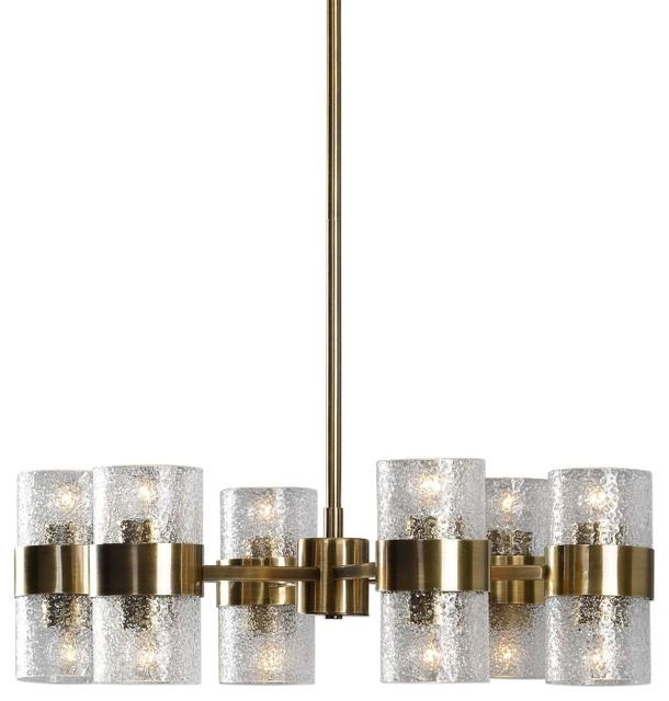 Marinot 12-Light Chandelier, Antique Brass Textured Clear Glass