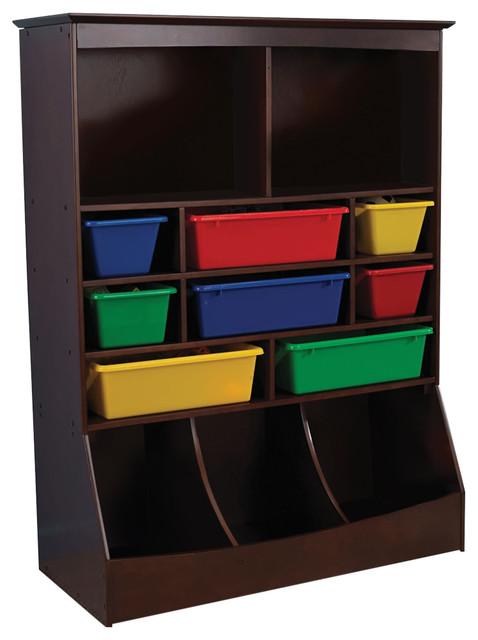 KidKraft Wall Storage Unit with Bins in Espresso