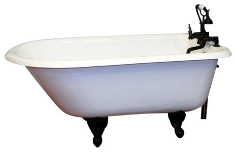 """55"""" Cast-Iron Rolled Rim Clawfoot Tub, No Faucet Drilling, Brushed Nickel Feet."""
