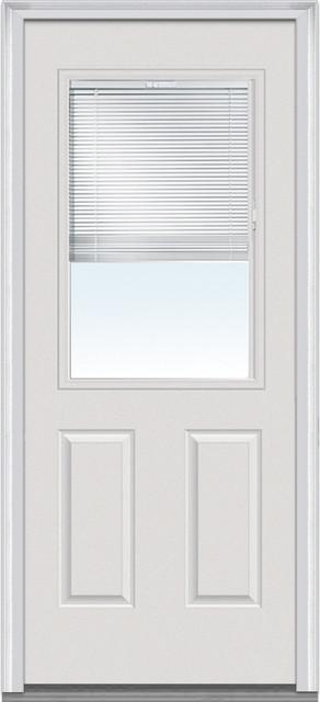 "Severe Weather 1/2 Lite Internal Blinds Fiberglass Door, Rh Outswing, 33.5""x81""."