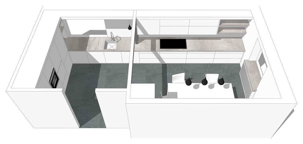 Ca. 6,5m Arbeitsplatte über die Raumlänge erstreckt