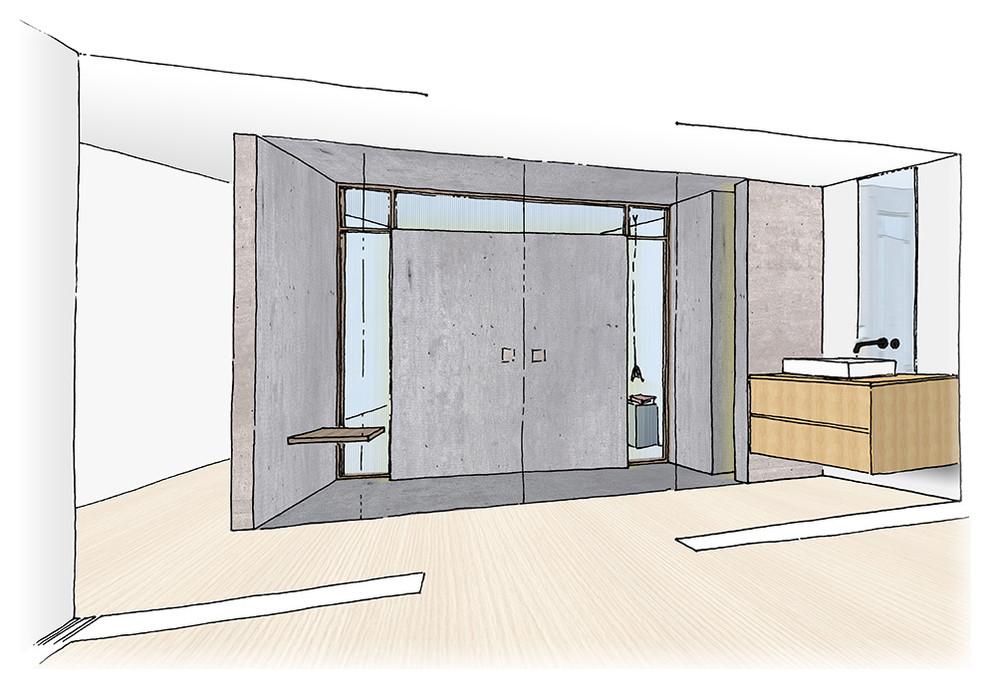 Bocetos del Anteproyecto (III). Baño principal.