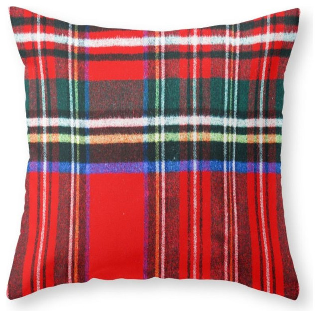 Red Plaid Throw Pillow Cover : Red Plaid Pattern Throw Pillow - Rustic - Decorative Pillows - by Society6