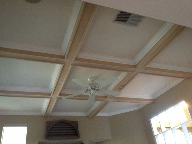 Contemporary Ceiling Beams With Crown Molding Inlay