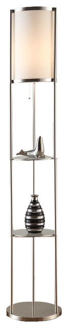 "Exeter 63"" Brushed Steel Floor Lamp With Durable Glass Shelf And Silk Shade."