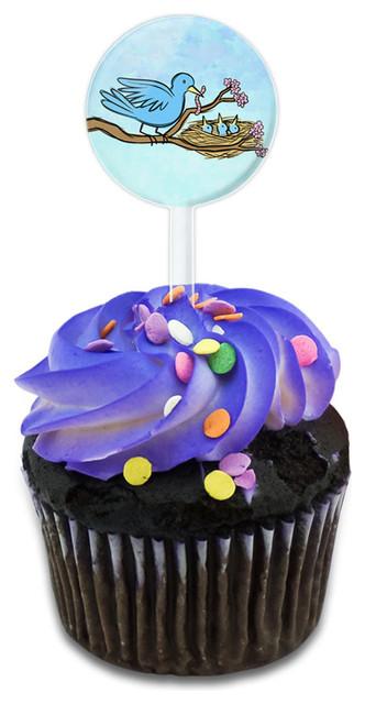 Blue Bird Feeding Young Cupcake Toppers Picks Set.