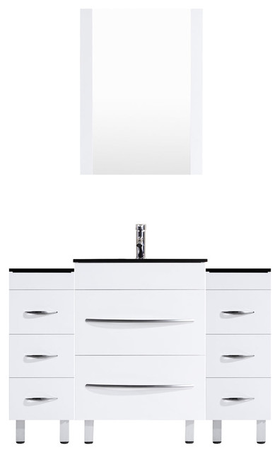 48 White Vanity, 24 Double Sink Base, Double 12 Drawer Bases, Lv4-C4-48-W.