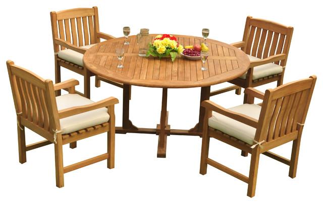 Super 5 Piece Outdoor Patio Teak Dining Set 60 Round Table 4 Devon Arm Chairs Pdpeps Interior Chair Design Pdpepsorg