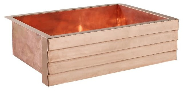 "Thompson Traders 2KS-T Tiered Lucca 33"" Farmhouse Single Basin Copper Kitchen S"