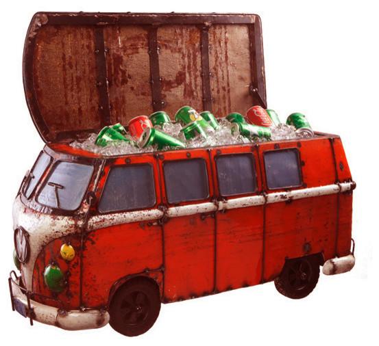 Think Outside Red Kombi Handmade Metal Van Fully Functional Beverage Cooler.