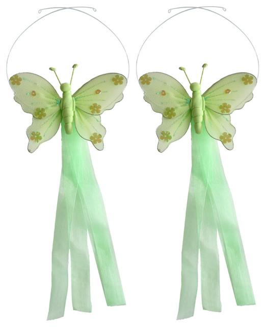 Butterfly Curtain Tie Backs Green Jewel Tieback Pair Set