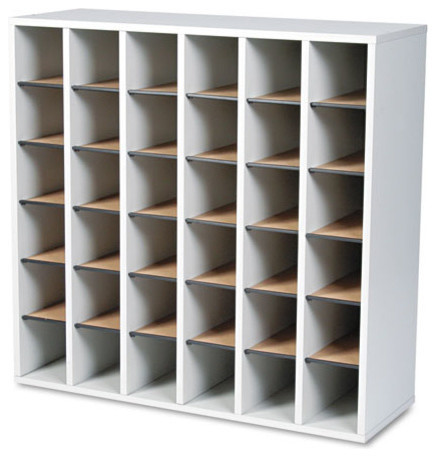 Wood Mail Sorter With Adjustable Dividers, Stackable, 36-Compartment, Gray.