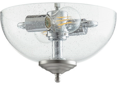 13 13w 2-Led Bowl Flush Mount, Satin Nickel/white, Clear Seeded Glass.
