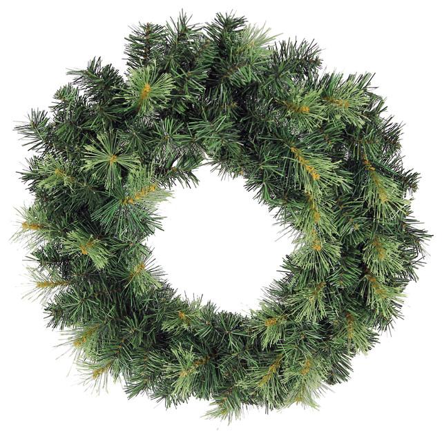 "130 Tips Christmas Pine 24"" Wreath, Green Two-Tone."