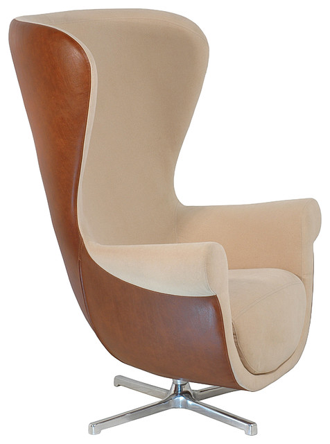 Martin Contemporary Tall Back Armchair, Beige And Walnut