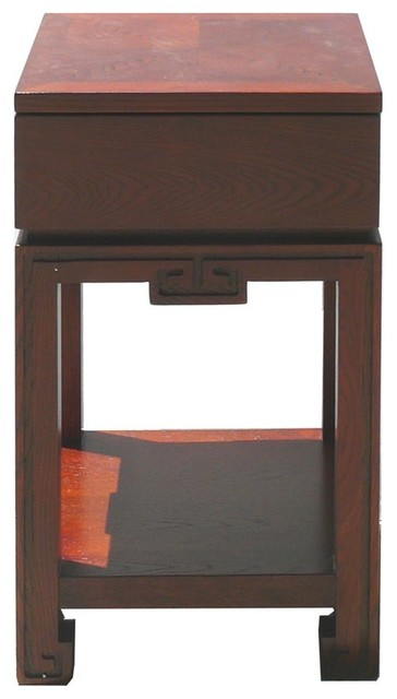 Solid oak wood nightstand end table cabinet asian for Japanese bedside table