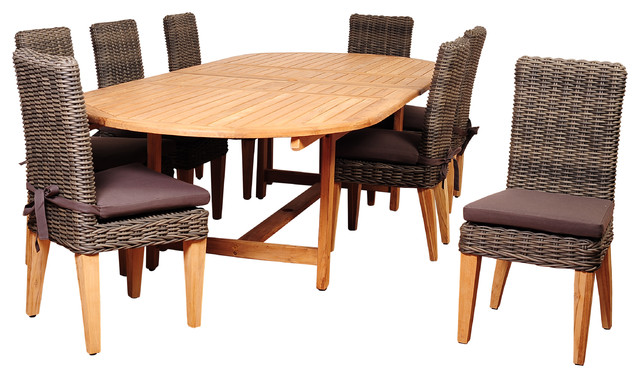 Singapore 9-Piece Teak And Wicker Double-Extendable Oval Dining Set.