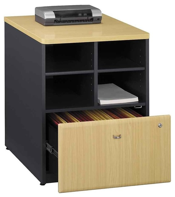 Office Storage Unit w Lateral File Drawer, Natural Cherry - Filing Cabinets - by ShopLadder