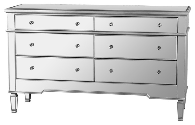Nicolette Bedroom 6 Drawer Dresser Mirrored Finish Contemporary Dressers