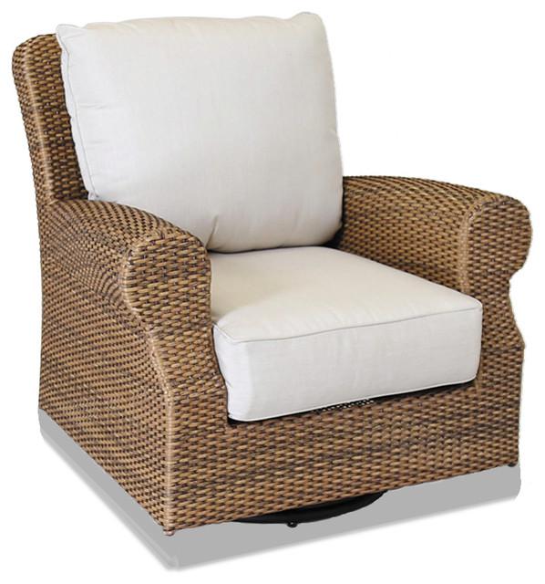 Santa Cruz Swivel Rocking Club Chair With Cushions Canvas Flax With Self Welt Beach Style
