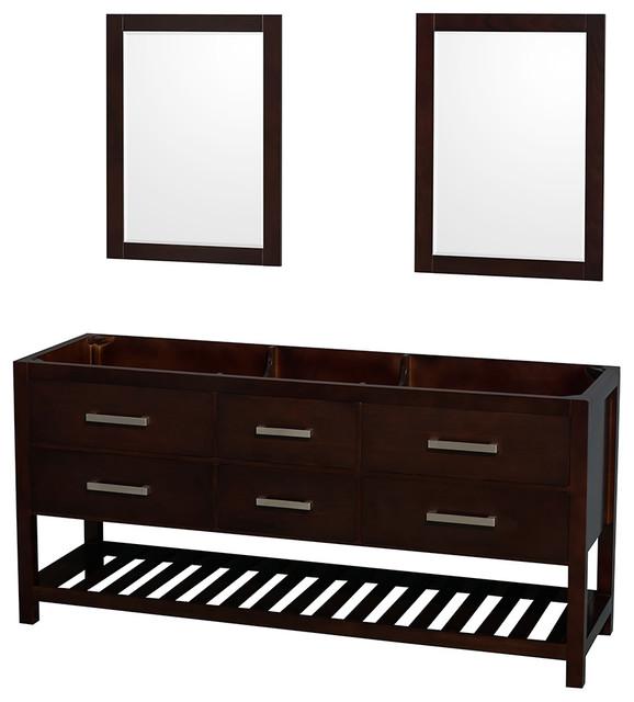 Natalie 72 Double Bathroom Vanity, Espresso, 24 Mirror.