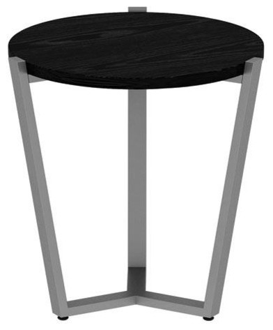 Astonishing Round Occasional Corner Table 21 1 4X21 1 4X22 3 4 Black Silver Squirreltailoven Fun Painted Chair Ideas Images Squirreltailovenorg