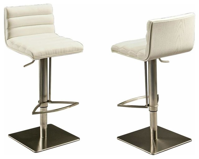 Pastel Dubai Hydraulic Barstool Stainless Steel with White Back PU Ivory bar stools