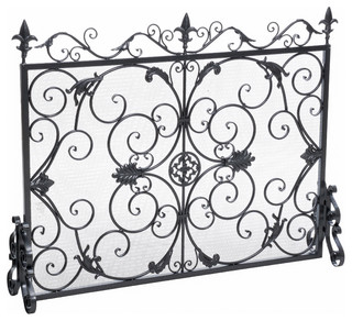 Gdfstudio darcie wrought iron fireplace screen view in for Silver fireplace doors