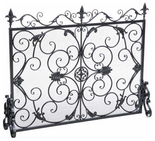 Darcie Wrought Iron Fireplace Screen, Silver Finish traditional-fireplace -accessories - Darcie Wrought Iron Fireplace Screen - Traditional - Fireplace