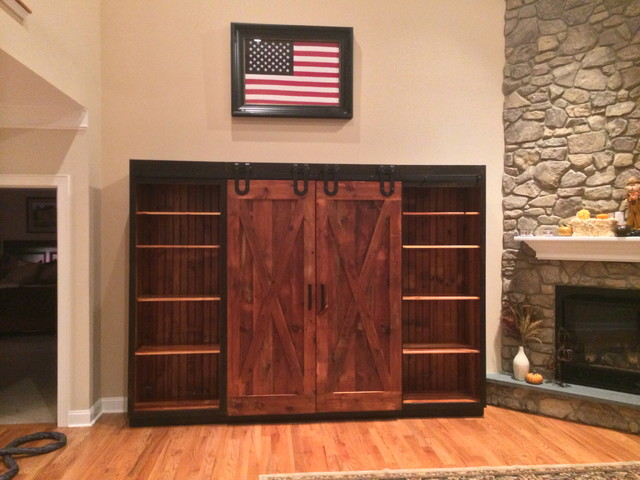 Entertainment Cabinet With Barn Doors Rustic Family Room