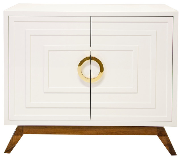 White Lacquer 2-Door Cabinet, Brass contemporary-accent-chests-and-