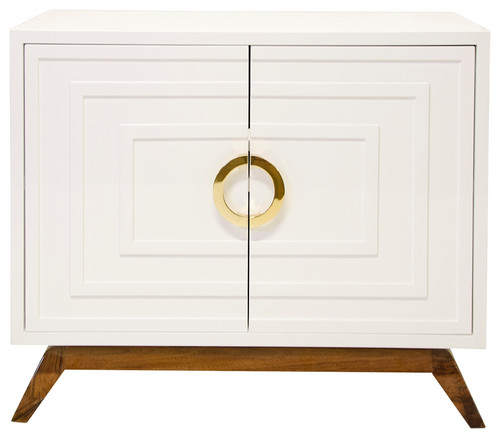 White Lacquer 2-Door Cabinet, Brass