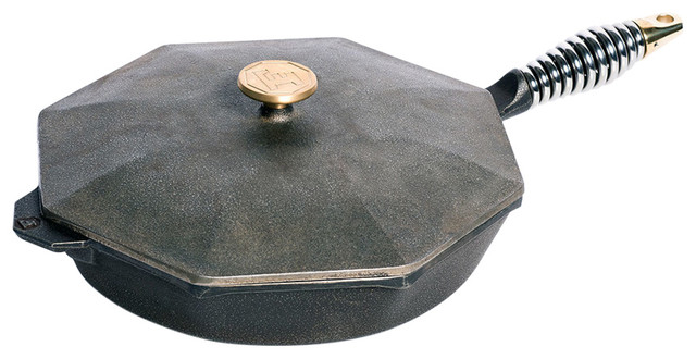 "Finex Pre-Seasoned Cast Iron Covered Skillet With Ergonomic Spring Handle, 12""."
