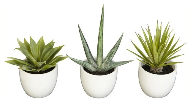 Nearly Natural Inc Faux Succulent Plants Set Of 3 Artificial