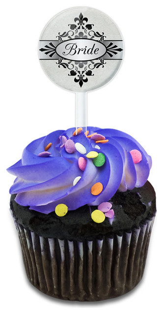 Bride On Floral Pattern Mrs Woman Hers Wife Cupcake Toppers Picks Set.