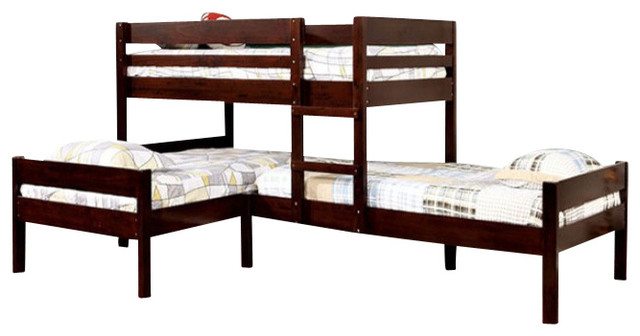 Maxwell Twin Size Low Corner Triple Bunk Bed Transitional Bunk
